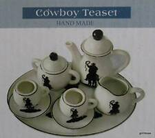 NEW Ceramic Cowboy Tea Set 10 Pieces NIB Child Size