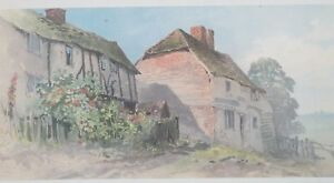 """Antique Chromolithograph """"Cottages Farnboro"""" by T.L. Rowbotham Listed"""