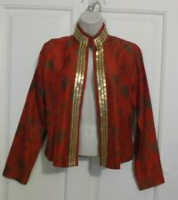 CHICOS Red Black Gold Sequin Evening Dinner Jacket Kimono Sz 0 S Small 4 $159