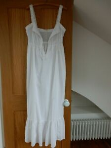 Vintage white cotton nightdress with broderie anglais decoration - Size S