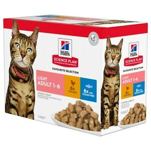 Hills Science Plan Light Adult Cat Food Pouches (Favourite Selection) 12x85G