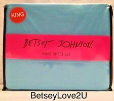 Betsey Johnson Solids 4 Piece King Sheet Set Turquoise Blue Microfiber Bed Nwt