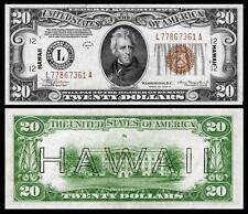NICE CRISP UNC. 1934 $20.00 US HAWAII OVERPRINT COPY PLEASE READ DESCRIPTION