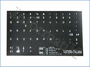 Adesivi Neri Lettere x Tastiera Italiana Italian Stickers for Black Keyboard ITA