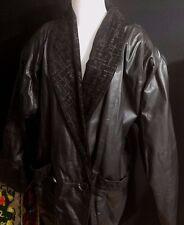 FAB 80s Vintage Black Argentinian Leather Coat Suede Tuxedo Large Shoulder Pads