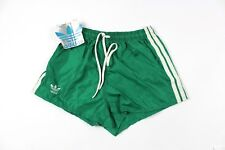 Vintage New 80s Adidas Mens Small Nylon Spell Out Trefoil Soccer Shorts Green
