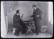 Photo plaque verre 13x18 cm / photomontage ou jumeaux - curiosité alcool 1900