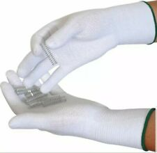 PVC Dotted Cotton/Lycra Gloves White With Blue Edging Trim - Size 9 Pack Of 12