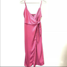 Urban Outfitters Quinn Midi Wrap Dress Pink Medium