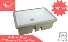 22-Inch White Ceramic Rectangular Shape Bathroom Vanity Undermount Sink