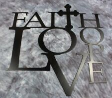 "Faith Love and Hope with Cross Metal Wall Art 12"" Black"
