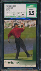 2001 Tiger Woods Upper Deck Promo CSG 8.5 NM/Mint+ Golf Card
