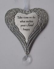 x Take time to do what makes your soul happy HEART angel WING ORNAMENT Ganz