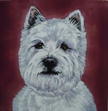 "West Highland Terrier Ceramic Picture Tile Dog Wall Art Kitchen 8x8"" 05764"
