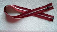 25 inch #5 Dark Red & Aluminum Metal Separating Ideal Zipper New!