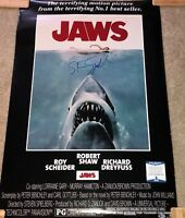 STEVEN SPIELBERG SIGNED JAWS FULL SIZE FS MOVIE POSTER 24X36 DIRECTOR BAS