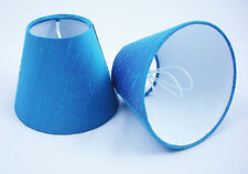 6 Candle Lampshades Handmade in UK - 100% Pure Dupion Silk Bright Turquoise