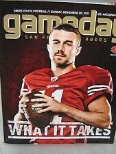 """SF 49ers  Program & Line-up Sheet 2pc- 49ers vs Cardinals 11/20/11 """"ALEX SMITH"""""""
