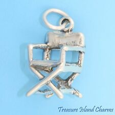 FILM DIRECTOR'S CHAIR HOLLYWOOD MOVIES 3D .925 Solid Sterling Silver Charm