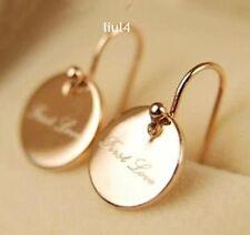18K GP Rose Gold small disk First love Earrings Ear hook E301