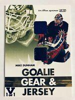 2003-04 ITGU Signature Series Goalie Gear Gold Pad & Jersey Mike Dunham Vault /1