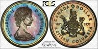 1971 Canada Silver Dollar British Columbia PCGS SP67 Turquoise Yellow Toned Coin