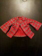 Vintage Houndstooth Red & Grey Barbie Jacket, possibly handmade 70's
