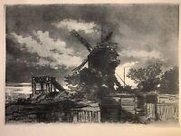 Louis Morin gravure Lithographie La Fin De Montmartre Paris
