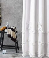 White Ruffles Swirl Fabric Shower Curtain for Shabby Chic Farmhouse Decor