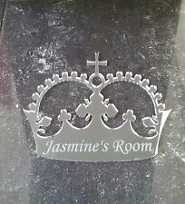 Personalised Door Name mirrored Acrylic crown Girls BedRoom Sign Child