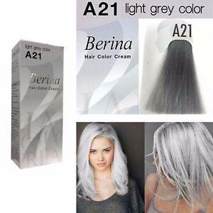 Berina A21 Luce Grigio Argento Permanente Tinta Capelli Color Crema Unisex -