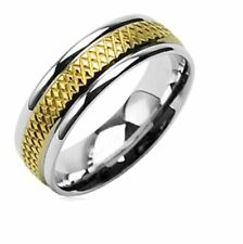 8mm Stainless Steel Gold Plated Ring With Grated Pattern Wedding Band Ring