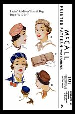 McCall # 1531 Pillbox Hat & Bag Clutch Fabric Sewing Pattern Caps Chapeau Chemo