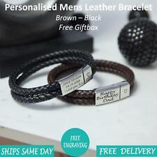 Rome Brown Black Leather & Stainless Steel Mens Personalised Engraved Bracelet