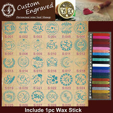 Style S001-S066 Custom Engraved Personalize Initials Wax Seal Stamp+1 Wax Stick