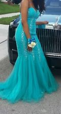 Strapless Turquoise Beaded and Embroidered Prom Dress Size 4 Floor length