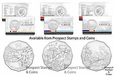 2015 Fifty Cent (50c) Australia at War series - El Alamein-Greece-Crete -3 coins