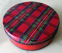 """Vintage Tartan Plaid TIN BOX: Red, Green, Black, White, Blue, 6"""" across, Round"""