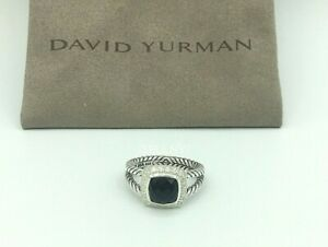 David Yurman Sterling Silver Black Onyx & Diamond Petite Albion Ring Size 5