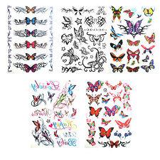 5 Hojas Para Niñas Damas Mariposa Tatuajes de tatuaje temporal