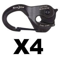 Nite Ize CamJam XT Aluminum Rope Tightener w/ Rope Heavy-Duty Rugged (4-Pack)