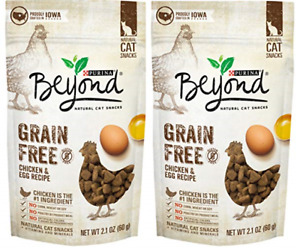(2) Purina Beyond Grain Free Chicken & Egg Recipes Natural Cat Snacks, 2.1 oz.