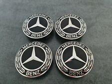 4x Mercedes Benz Radnabendeckel Radnaben Radkappen 75 mm Schwarz