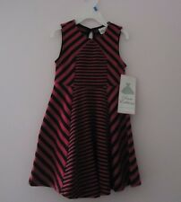 GIRLS PINK W/ BLACK STRIPES SUMMER DRESS MADE BY RARE EDITIONS / SIZE 4