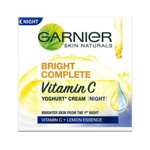Garnier Bright Complete VITAMIN C YOGHURT Night Cream Reducing Dark Spots 40g FS