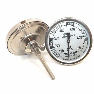 """Tel Tru BQ100 BBQ Grill & Smoker Thermometer 1.75"""" Dial 2.13"""" Stem 150-700 Zones"""