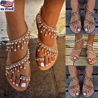 Women Boho Summer Pearl Bead Casual Beach Slipper Flats Sandals Ship-On Shoes US