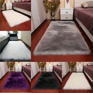 Fluffy Soft Floor Rug Non-slip Shaggy Carpet Mat Bedroom Faux Wool Rugs 8 Sizes