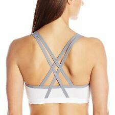 Lily of France Crosse-Back Medium-Impact Active Sports Bra 2151901 White/Silver