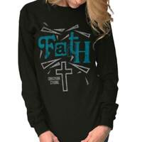 Faith Lord Jesus Cross Christianity T Shirts Jesus Christ Cross Long Sleeve Tee